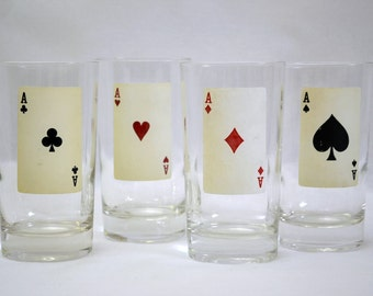 Federal Glass Poker Tumblers Set of 4 Drink Glasses One For Each Card Suit - Aces Tumblers Glassware Barware
