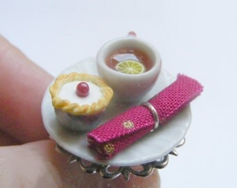Food Jewelry Tea and Bakewell Tart Ring, Tea and cake, Food Ring, Miniature Food Jewelry, Mini Food Jewellery, Polymer clay, Dollhouse food