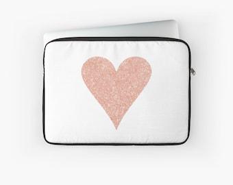 Rose Gold Laptop Case - Love Heart Laptop Sleeve - Tablet case