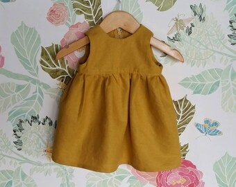 Linen dress; childrens clothing; baby dress, linen baby clothing