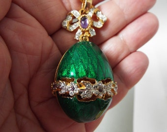 "signed Craft green Guilloche enamel  crystal rhinestone egg pendant large 2"" Faberge style Easter egg"
