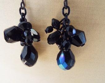 iridescent black crystal dangle earrings