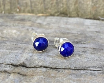 Lapis stud earrings sterling silver - lapis lazuli post earrings - rose cut lapis studs - lapis earrings