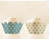 80% OFF Printable CUPCAKE Wrappers Retro Baby Blue cupcake apron Polka Dot baby shower cupcake holder blue party favor