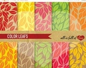 80% OFF Autumn DIGITAL Scrapbooking Paper Pack Leafs Patterns Pack Thanksgiving Digital Background Fall Patterned card stock