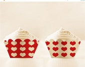 80% off Printable Cupcake Wrappers Red Retro Love DIY Mothers Day