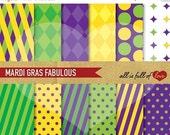 80% off MARDI GRAS Paper Digital Paper Green Purple Yellow Background Patterns Printable Scrapbook