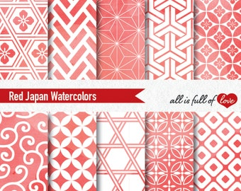 Red Watercolor Digital Paper Japanese Seamless Patterns Christmas Wrapping Paper Red Scrapbooking Printable Background Patterns Red