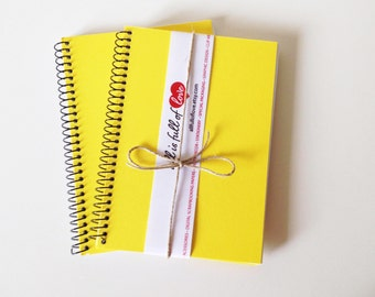 2 Yellow Notebooks Recycled Cardstock Journal A6 Blank Notebook Handmade journal handmade diary sketch book set writing book yellow journal
