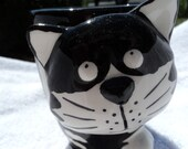 Black and white ceramic 3-D Cat coffee mug/ Adorable face/gift for any cat lover