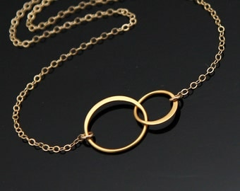 Double Circle Necklace, Gold Two CIRCLE Necklace, Interlocking Circle Necklace, Eternity Circle Necklace, Gold Filled and Vermeil.