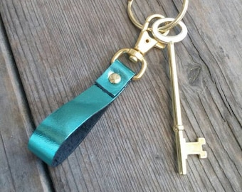 Leather Keychain, Metallic Leather Keychain with Clip, More Colors Available