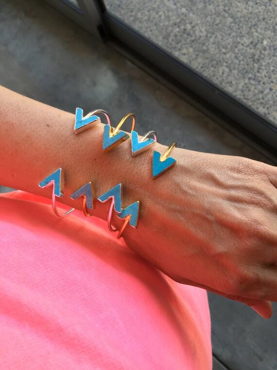Turquoise cuff bracelets, arrow jewelry, boho chic