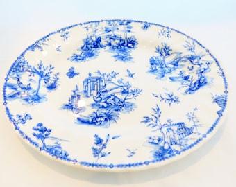 "Churchill, 12"" Platter. Toile Blue Scalloped Swirl 1980's, Made in England"