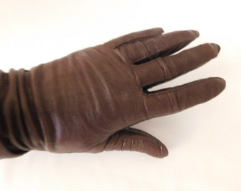 Ladies Brown Leather Gloves, Size Small, Chocolate Brown Leather Gloves, Driving Gloves
