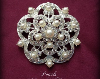 "SALE Beautiful Ex-Large Crystal Pearl Rhinestone Silver Brooch Brooches Bridal Bouquet Wedding Dress Sash ""YOUR CHOICE"""
