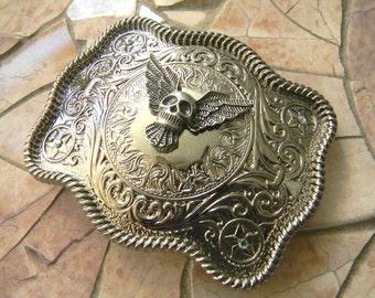 Silver Skull Belt Buckle, Mens Womens Western Belt Buckle, Biker Babe Custom Buckle, Heavy Metal Skull Head Rhinestone Country Rocker Buckle