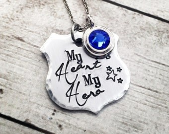Police Wife Necklace - My Heart My Hero - Police Officer's Wife - Gift for Police Wife - Police Mom Necklace - Police Wife Jewelry