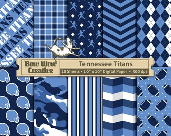 10 Tennesssee Titans Digital Papers for Scrapbooking, Football, NFL, Digital Paper, Digital Scrapbook Paper, Printable Sheets, Patterns