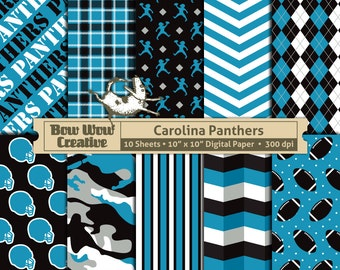 10 Carolina Panthers Pattern Digital Papers for Scrapbooking, Invitations, Cards, Graphic Design, Paper Crafts, instant download, background