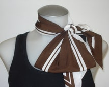 Vintage Long Brown and Off White Cardiere Scarf - Half and Half -  Spring Summer Scarves - Womens Accessories 1970s