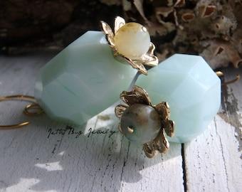 Water Lilies- light turquoise blue jade stones. artisn bronze flowers. gold filled. elegant floral jewelry. boho earrings. Jettabugjewelry