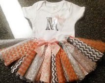 Peach and Grey Chevron TuTu oufit 2 pc set With Your Choice Of Silver Initial