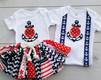 Sibling Set.  Nautical 4th July set.  Personalized Embroidered Initials.  Birthday Themed Nautical Set