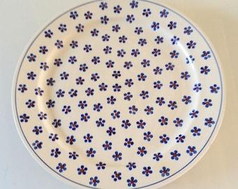 Vintage Platter Wiza Pottery Poland, round serving platter, blue floral plate, vintage kitchenware, retro housewares, round meat platter