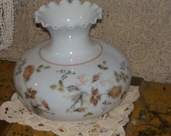 Vintage Hurricane Lamp Shade, Beautiful White an Brown Hurricane Lamp Shade, Vintage Lamp Shade, Vintage Glass Lamp Shade,  :)S