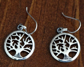 Tree of Life Earrings- Sterling Silver- Family Tree Jewelry- Mothers Day- Christmas- Grandmother- Gift- Jewelry