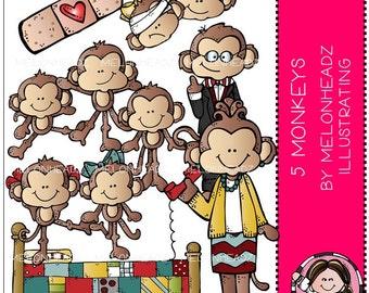 5 Little Monkeys clip art - Combo Pack