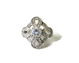 Art Deco Style Sterling Silver CZ Cocktail Ring, Sz 6, Big Bold Glitzy Vintage Ring