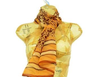 Halston Silk Scarf, Designer Scarf, Leopard Animal Print