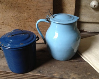 French Blue Enamel Pot French Farmhouse Lidded Chippy Shabby Chic