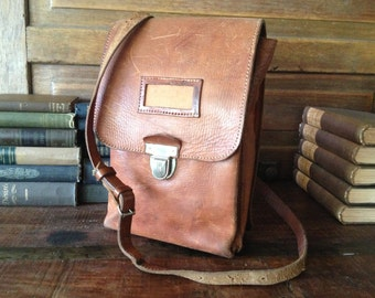 Small Brown Leather Bag, Camera Case, Crossbody Messenger Satchel Bag, 1940s Military Dispatch Document Map Case