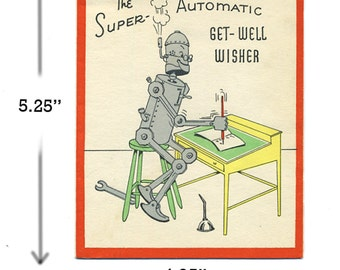 Vintage Robot Get well card 1950's