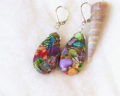 "Multicolor, purple, green, red, teal Sea Sediment Jasper Pyrite semi precious stone silver 2"" long dangle lever back earrings"