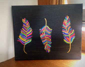 Painted Canvas, Feathers Painting