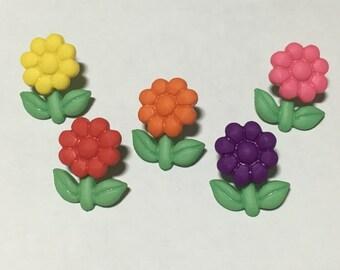 5 piece little flower button mix, 12 x 15 mm (B8)