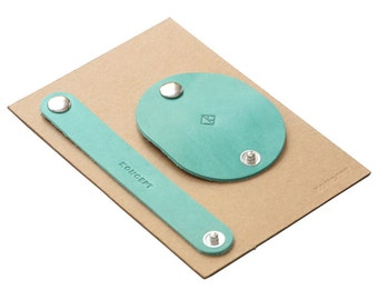 Cable Organizer Set - Italian Leather in Teal (Free Personalization)