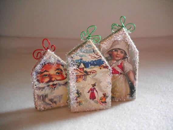 Christmas ornaments wooden houses handmade little tiny