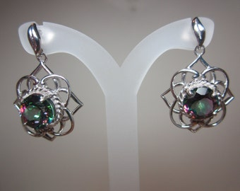 Brazilian Mystic Fire Green Mystic Topaz Earrings