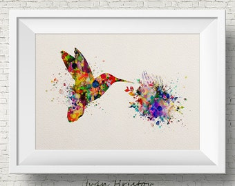 Hummingbird art print - watercolor painting print - bird art illustration, home wall decor,abstract,wall art,kids art,fantasy,modern
