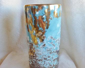 Stunning aqua and gold splatter cylindrical vintage vase