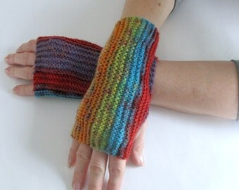 Multi Colored Knit Fingerless Gloves Unisex Teen to Adult Arm Warmers Arm Gloves