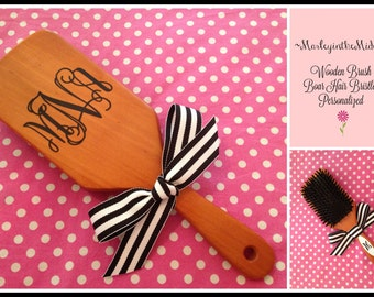 New! Cherry wood Boar Hair Bristle Brush - Personalized - Bridesmaid Gift - Birthday Gift