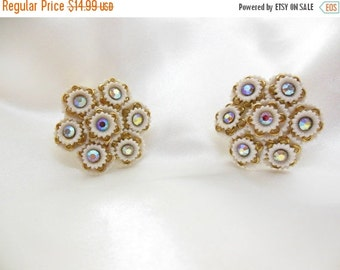Biggest Sale Ever Large Vintage Earrings White Lucite Aurora Borealis  Clip on