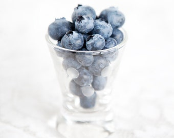 Blueberry Shot Blueberries in a glass Fruit photograph kitchen decor blue white Still Life Food Photography square print