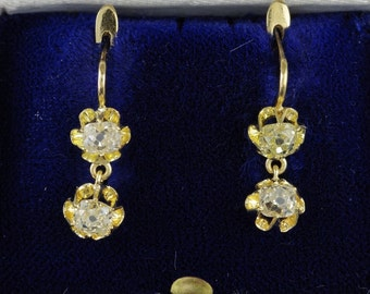Spectacular Victorian 2,00 Ct double old diamond drop earrings